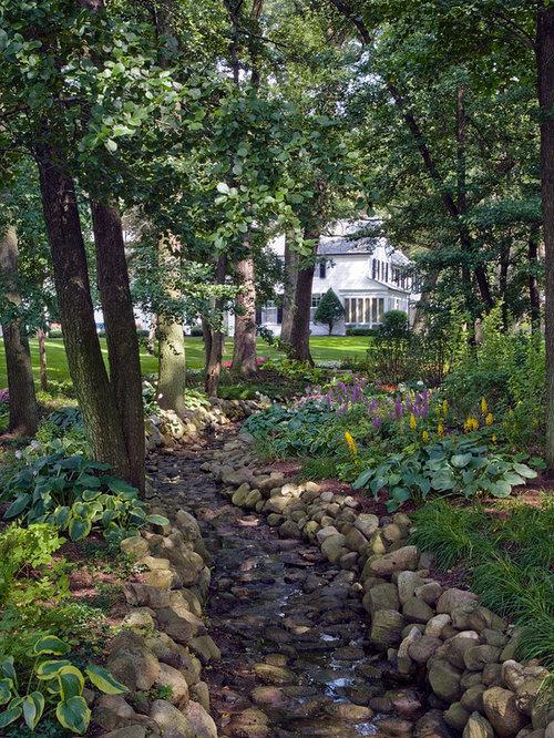 Cheap backyard landscaping home design ideas pictures for Garden stream designs