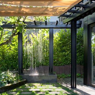 Inredning av en modern trädgård, med en fontän