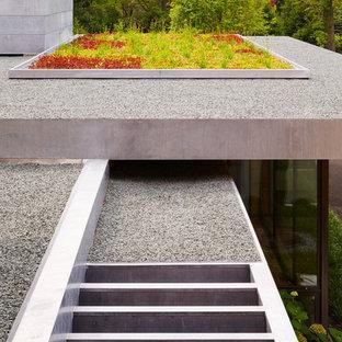 Idee per un giardino minimal esposto in pieno sole sul tetto e di medie dimensioni con ghiaia