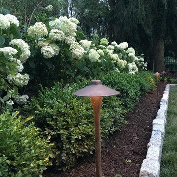 Landscape Lighting among the hydrangea + boxwood