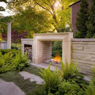Schattiger Klassischer Garten hinter dem Haus mit Kamin in Toronto
