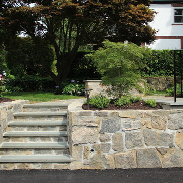 Landscape, retaining wall, steps and driveway