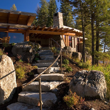Landscape stairs leading to the Outdoor Room