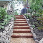 Wood And Gravel Access Steps Traditional Landscape