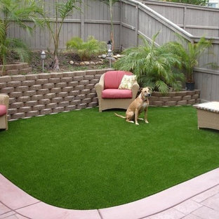 Design ideas for a small modern partial sun backyard concrete paver landscaping in Tampa for summer.