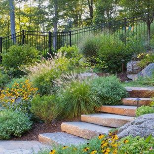 Foto di un giardino formale chic esposto a mezz'ombra di medie dimensioni e dietro casa con un ingresso o sentiero e pavimentazioni in pietra naturale