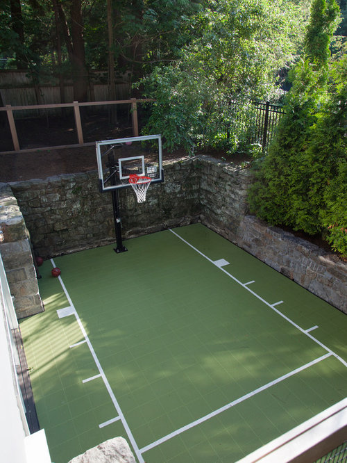 Backyard basketball courts houzz for Backyard sport court ideas