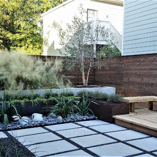 Inspiration for a small contemporary drought-tolerant and full sun backyard landscaping in Houston.