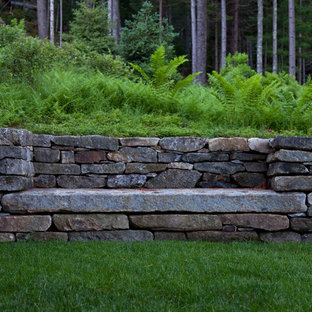 This is an example of a rustic retaining wall landscape in Boston.