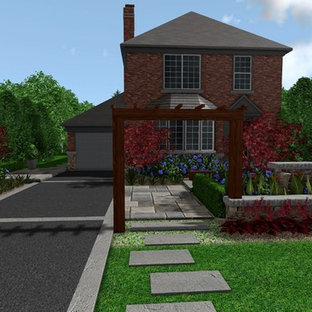 Design ideas for a mid-sized modern partial sun front yard stone garden path in Other for summer.