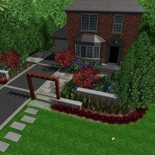 Photo of a mid-sized modern partial sun front yard stone garden path in Other for summer.