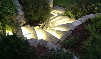 LED landscape lights for a stone stairway