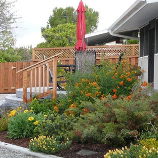 This is an example of a large drought-tolerant and partial sun backyard landscaping in San Diego with decking.