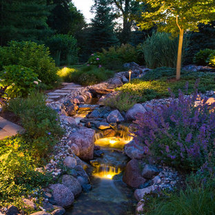 Photo of a rustic garden in Chicago with a water feature.