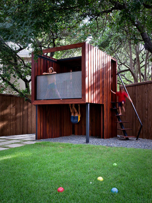 This Is An Example Of A Mid Sized Contemporary Backyard Outdoor Playset In  Austin.