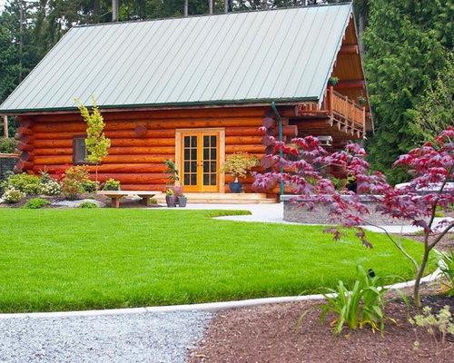 Best 30 small log cabins landscaping ideas designs houzz for Log home landscape design