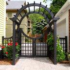 Custom Garden Gate In Iron And Cedar Contemporary