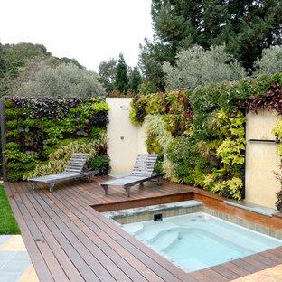 Ejemplo de jardín contemporáneo, pequeño, en patio trasero, con jardín vertical, exposición total al sol y entablado