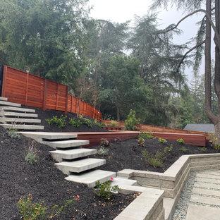Ispirazione per un grande giardino moderno esposto in pieno sole davanti casa in inverno con pedane