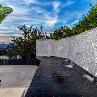 This is an example of a contemporary backyard water fountain landscape in Los Angeles.