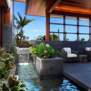 Ejemplo de jardín tropical, grande, con fuente