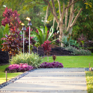 This is an example of a tropical garden path in Hawaii.