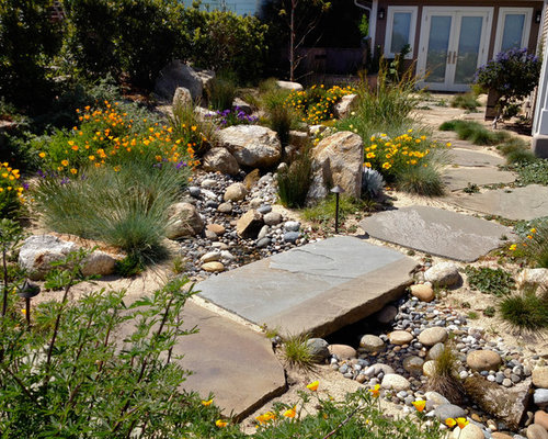 Dry creek bed landscaping home design ideas pictures for Dry landscape design