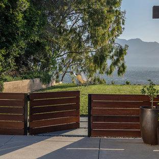 Cette photo montre un grand jardin arrière moderne avec une exposition ensoleillée et un portail.
