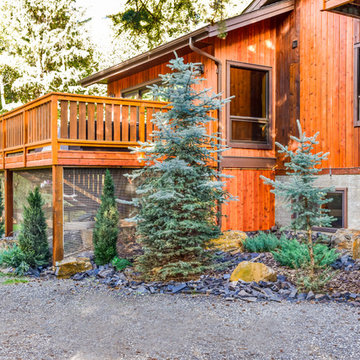 Low Maintenance Side Yard with Rundle Stone Tailings & Bark Nuggets