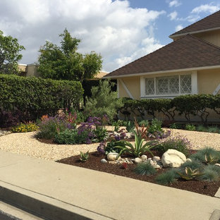 Large retro front xeriscape full sun garden in Los Angeles with gravel.
