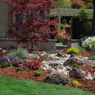 This is an example of a mid-sized traditional partial sun and rock front yard stone landscaping in San Francisco for spring.