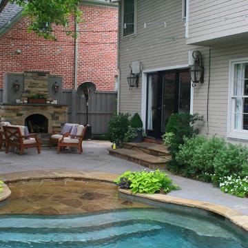 Lush Backyard Landscape with Pool