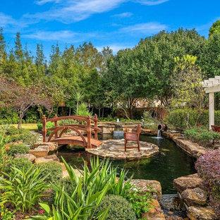 Inspiration for a mediterranean full sun pond in Houston.