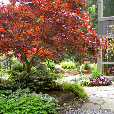 Photo of a traditional shade gravel landscaping in Seattle for fall.