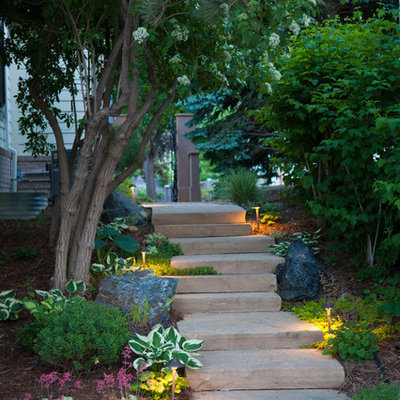 Photo of a traditional stone garden path in Denver.