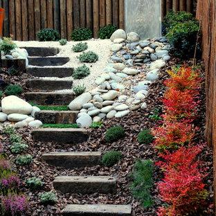 Ejemplo de jardín de secano, actual, pequeño, en ladera, con muro de contención y mantillo