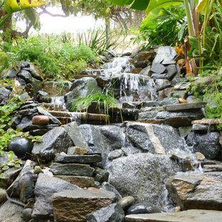 Inspiration for a large tropical partial sun backyard formal garden in Los Angeles.