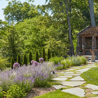 This is an example of a traditional backyard stone garden path in DC Metro.