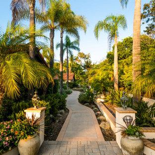 Design ideas for a tropical partial sun concrete paver landscaping in San Diego.