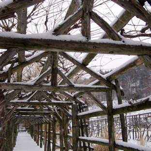 Foto di un giardino tradizionale dietro casa in inverno