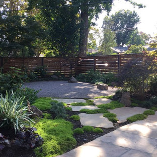 This is an example of a small asian shade front yard stone garden path in San Francisco.