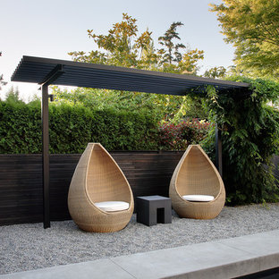 Idéer för en modern trädgård, med grus