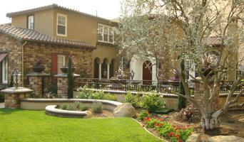 Mediterranean garden with stone pathways.
