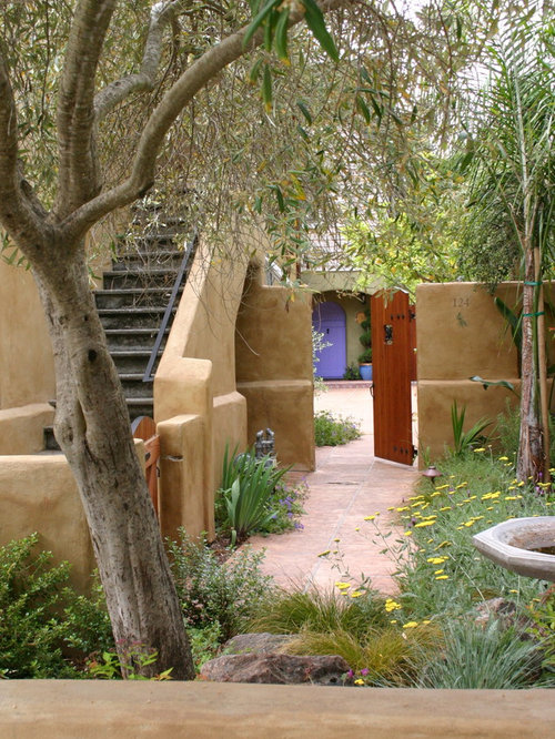 Mediterranean garden houzz - Modern cob and adobe houses ...