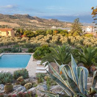 Idee per un grande giardino xeriscape mediterraneo esposto in pieno sole dietro casa con pavimentazioni in pietra naturale