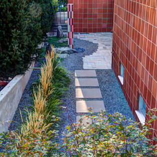 This is an example of a mid-sized midcentury modern partial sun side yard gravel formal garden in Denver.