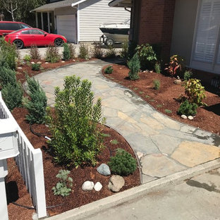 This is an example of a mid-sized mid-century modern drought-tolerant and full sun front yard stone garden path in San Francisco for summer.