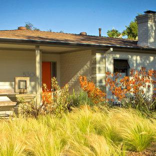 Ispirazione per un grande giardino xeriscape minimalista davanti casa con fontane e pavimentazioni in cemento