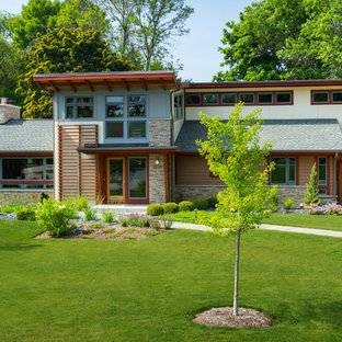 This is an example of a mid-sized midcentury modern front yard landscaping in Milwaukee.