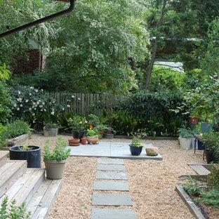 Cette photo montre un jardin arrière rétro.